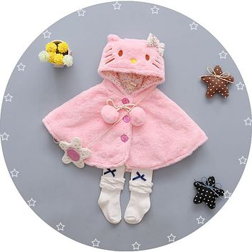 Newborn Baby Girls Thick Coat Hooded Cloak Poncho Jacket Outwear Coat Clothes Cotton Autumn Winter Coats Clothing
