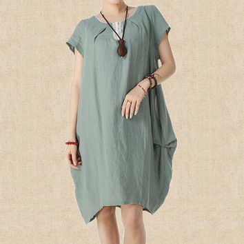 Breathed air/ linen princess dress women Maxi Dress