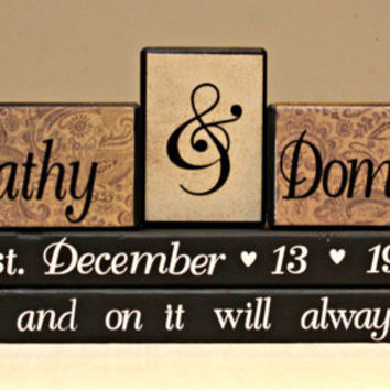 Wedding wood blocks personalized with couples name/wedding date/choice of saying