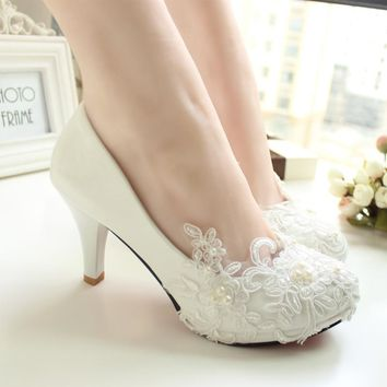 Women Pumps Wedding Shoes large size 41-52 Handmade lace White Bridal Shoes Bridesmai