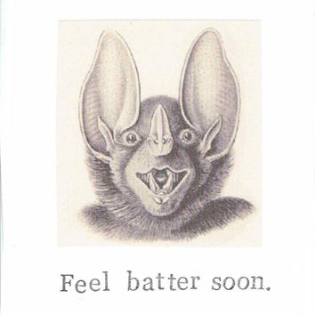 Feel Batter Soon Bat Get Well Card | Funny Animal Humor Pun Nature Vintage Gothic Victorian Spooky Geekery Nerdy Indie Men Women