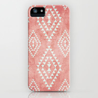 mint & coral tribal pattern (2) iPhone & iPod Case by daniellebourland