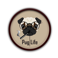 Pug Life Funny Dog illustration Wall Clock