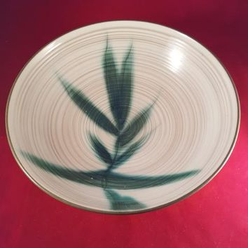 Off White, Green Bamboo Earthenware Bowl
