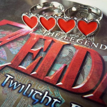 Video Game Zelda Hearts Life Ring - Double Ring Metal