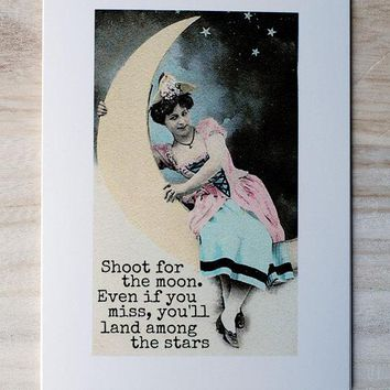 Shoot For The Moon Land Among The Stars Funny Vintage Style Mothers Day Card Card For Her FREE SHIPPING