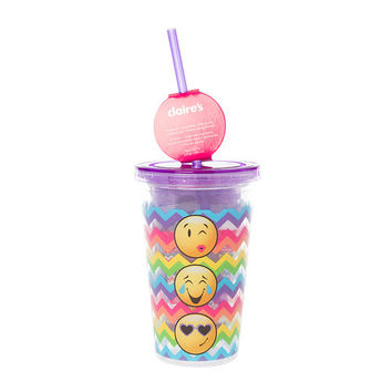 Emoji Rainbow Chevron Tumbler with Straw and Bath Products Gift Set