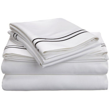 Luxor Treasures Egyptian Cotton 800 Thread Count Two-tone Embroidered Sheet Set   Overstock.com Shopping - The Best Deals on Sheets