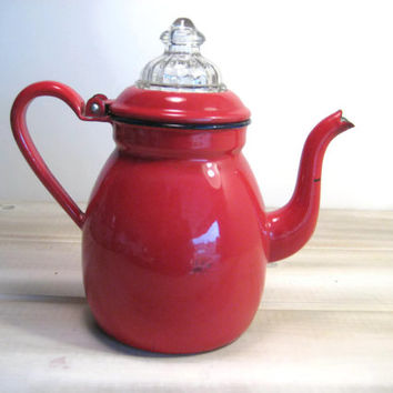 Vintage Enameled Coffee Pot or Tea Pot Red Enamel French Style Percolator Pot