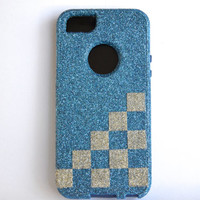 Custom iPhone 5 Chess Glitter Otterbox Commuter Cute Case,  Custom Chess Glitter Blue / Blue Otterbox Color Cover for iPhone 5