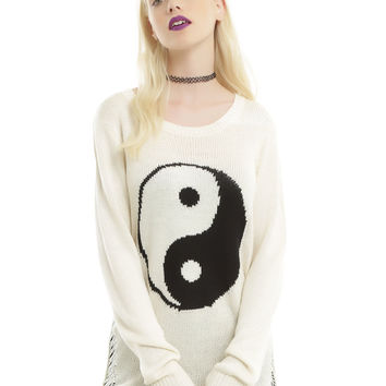 Ivory & Black Yin-Yang Shredded Side Seam Girls Sweater