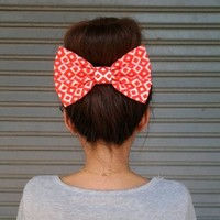 LOZENGE ORANGE OVERSIZE BOW HAIR CLIP