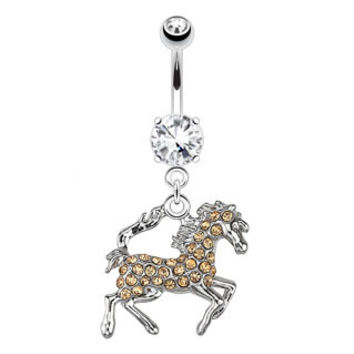 Mustang Paved Gems Navel Ring