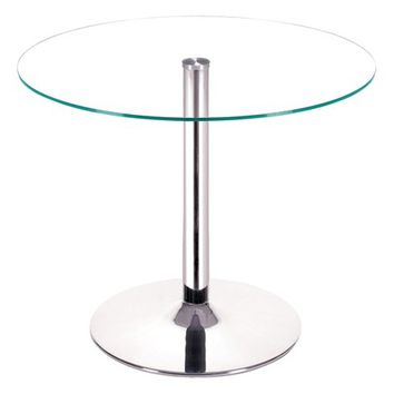 "Modern Tempered Glass and Chromed Steel Tube 39"" Round Dining Table - Clear - ZM Home"