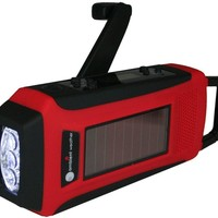 Ambient Weather Portable Emergency Solar Hand Crank AM/FM/Weather Band Radio