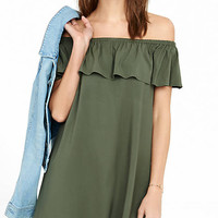 Off The Shoulder Ruffle Trapeze Dress from EXPRESS