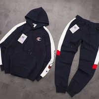"""""""Champion""""Fashionable Women Men Casual Hooded Top Sweater Pants Set Two-Piece"""