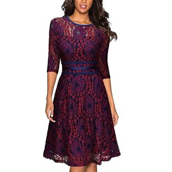 Crochet Lace floral mesh dress