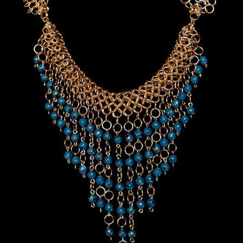 Blue statement necklace - Egyptian inspired bib necklace - Blue and gold collar necklace - Blue chainmaille necklace