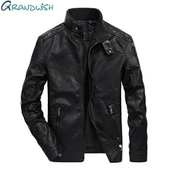 Grandwish PU Leather Jacket Men Stand Collar Classical Motorcycle Jacket Leather Men Faux Leather Jacket Male, DA366