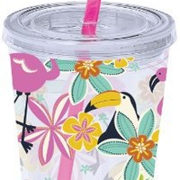 Boston Warehouse Flamingo and Friends 16-Ounce Tumbler with Straw