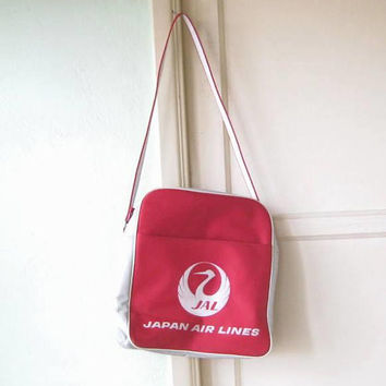 Red Vintage Japan Airlines Flight Bag; Red/Off-White Overnight/Travel Tote; Classic Crane Design; U.S. Shipping Included