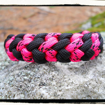 Pink Black Survival Bracelet