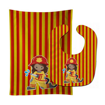 Fireman Girl Baby Bib & Burp Cloth BB7000STBU