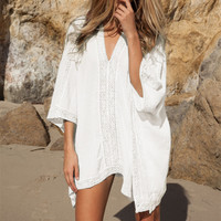 Plunge-front Caftan Pareo Beach Cover Ups Rayon White Robe De Plage Sarong Plus Size Swimwear Tunic Swimsuit Coverup #Q2