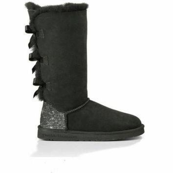 DCCK8X2 Custom Uggs, Bailey Bow Tall UGG Boots, Uggs, Tall Uggs, Black Bailey Bow Uggs, Uggs w