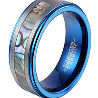 8mm Tungsten Ring Abalone Shell Inlay Center Matte Brushed Edges Blue Plated Inner Step edge