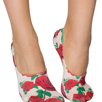 Red Roses Liner Socks