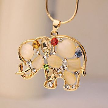 Cat Eye Stone Gemed Elephant Fashion Necklace - LilyFair Jewelry