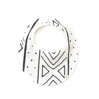Baby Bib in Black Mudcloth