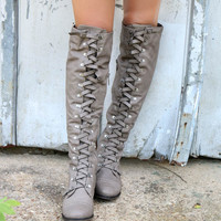 Far From Home Tall Beige Lace Up Buckle Riding Boots With Stitch Detailing