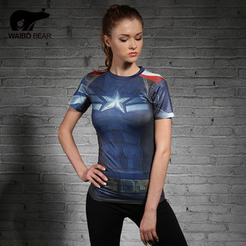 Hot Women T-Shirt Bodys Armour Marvel Captain America Superman Compression Shirt Girl Under Elastic Fitness Tight Tops Plus Size