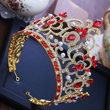 luxury pearl red cz cubic zircon stone big tiaras and crowns hairbands engagement wedding hair accessories Cosplay