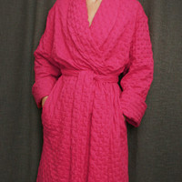 Hot Pink Ballet Shawl Collar Robe Cotton Waffle Made in the USA | Simple Pleasures, Inc.