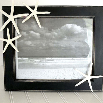 Starfish Picture Frame 8x10 Beach Decor Black & White Starfish distressed photo frame Nautical Ocean Decor, tabletop / wall mounted