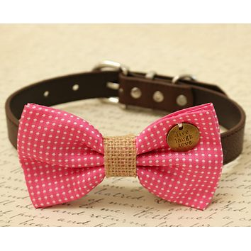 Hot Pink Dog Bow Tie attached to collar, pink wedding
