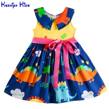Kseniya Kids Big Little Girls' Dresses Princess Sleeveless Peter Pan Collar Ribbons Bow Knot Summer Girl Animal Dress Cotton