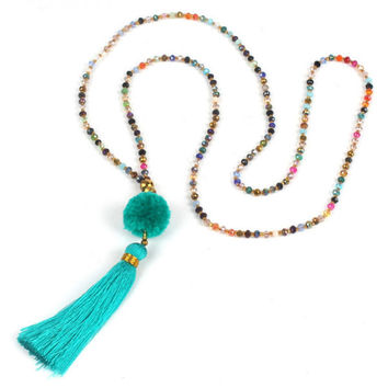 Pom Tassel Long Necklace - Turquoise