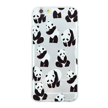 Panda Collage Dense Soft Silicone TPU Clear Transparent Phone Back Case Cover for iPhone 5 5s 6 6s 7 7 Plus