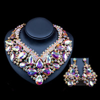 Lan palace wedding necklace fashion jewelry dubai six colors  Austrian crystal necklace and earrings for wedding  free shipping
