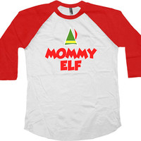Family Christmas Gift Mommy Elf American Apparel Raglan Gifts For Xmas Presents For Christmas Xmas Gifts Holiday Present Baseball Tee -SA462