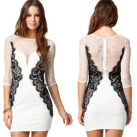 Sexy See-through V Collar Lace Dress