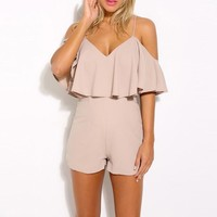 Strap Flounced Bodycon Romper Jumpsuit