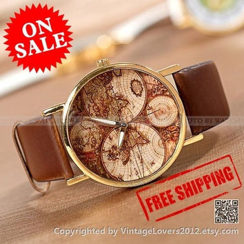 vintage style World Map Watch, Unisex Watch, Leather Watch (WAT0125-DARKBROWN) = 1932204164