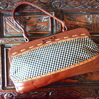 JAMIN PUECH Genuine Leather Handbag, Made in France, Checkered Fabric, Vintage