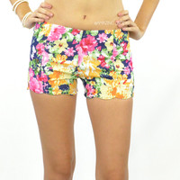Watercolor Scalloped Hem Floral Shorts